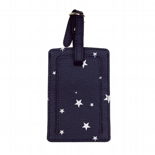 Luggage Tag - Star Print - Blue & Silver